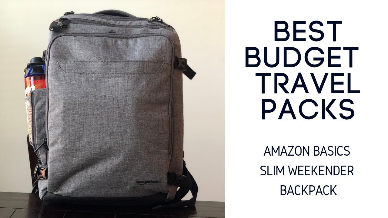 Best Budget Travel Packs: Amazon Basics Slim Weekender Travel Backpack...