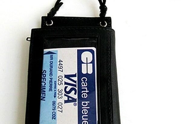 Black Leather ID CARD Holder Neck Travel Work Pouch Press Wallet Strap...