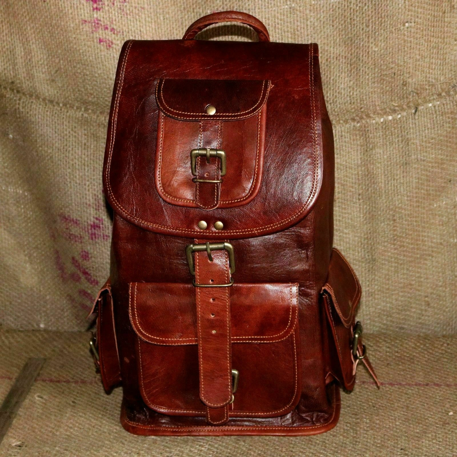 Brown Leather Backpack Men Laptop Travel Vintage All Large Hiking Satc...