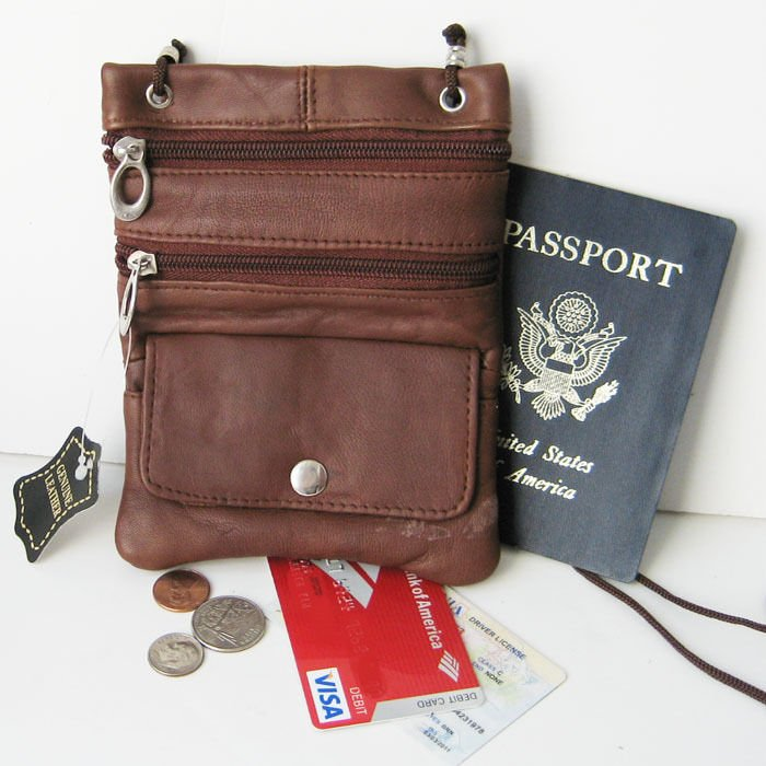 Brown Real Leather ID Holder Neck Strap Zip Pouch Travel Lanyard Passp...