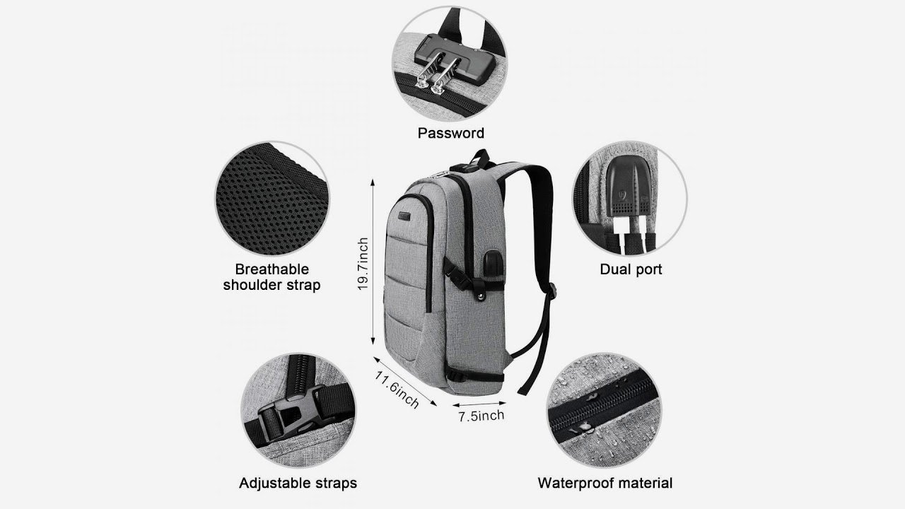 Business Laptop Backpack, Anti Theft Waterproof Travel Backpack with U...
