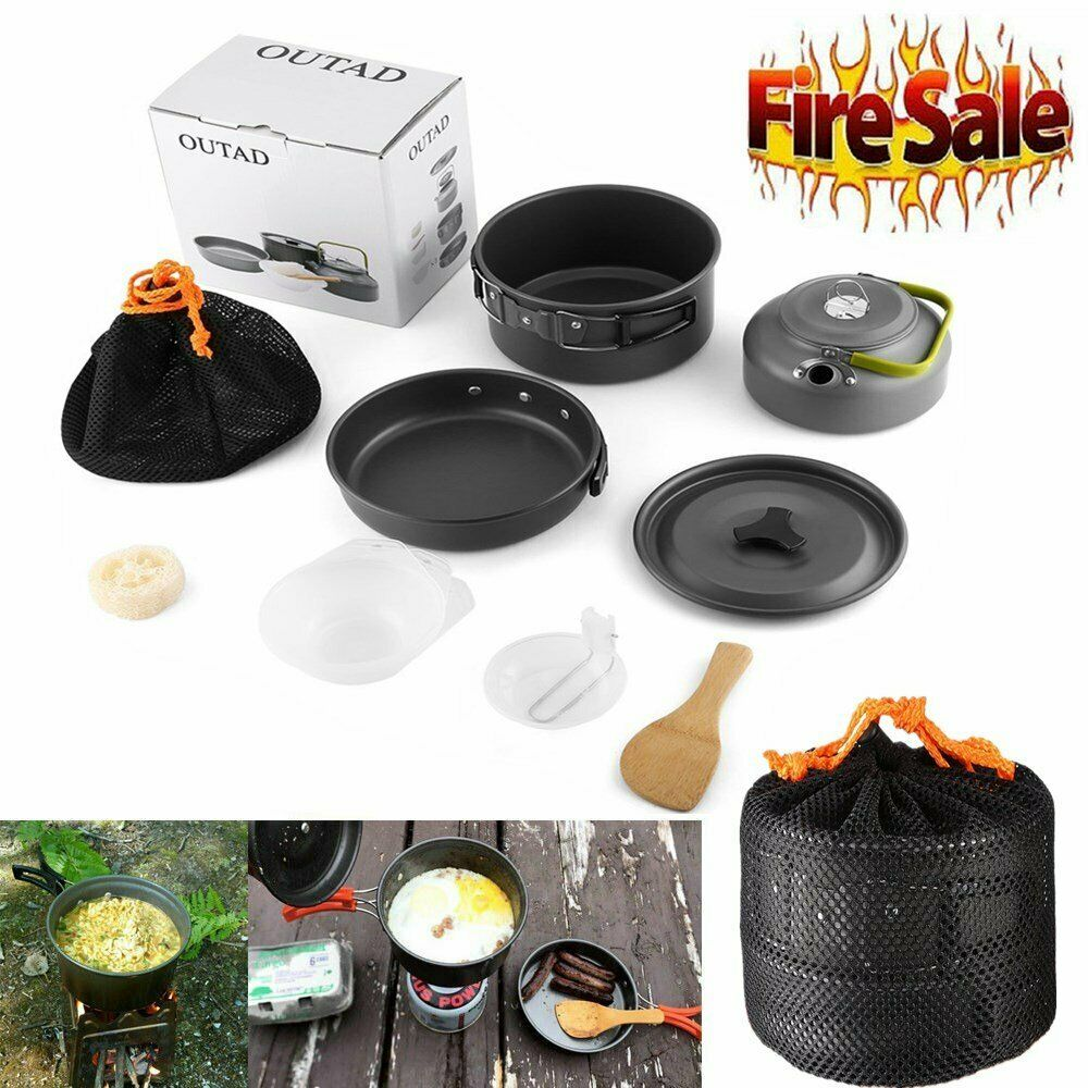 Camping Cookware Mess Kit Cookset Camp Kit Outdoor Gear Compact Backpa...