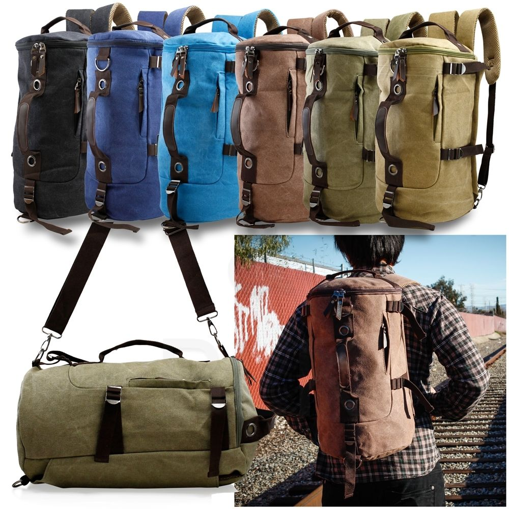 Canvas Backpack Travel Camping Sport Rucksack School Satchel Laptop Hi...