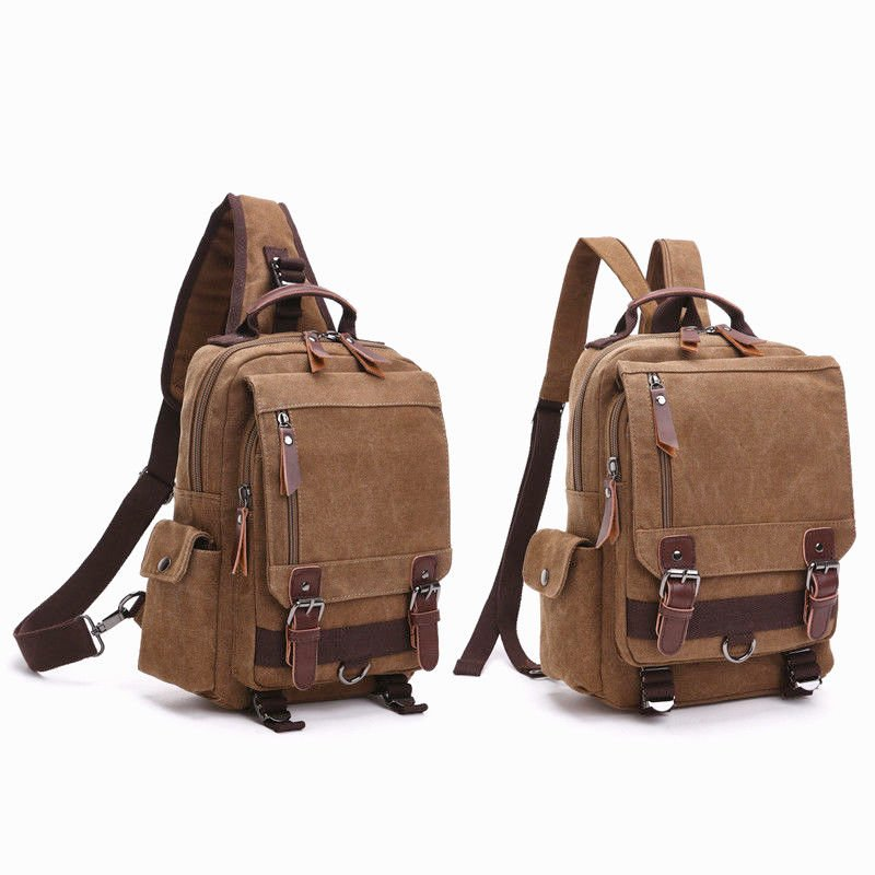 Canvas Messenger Bag Shoulder Backpack Travel Travel Hiking Chest Bag ...