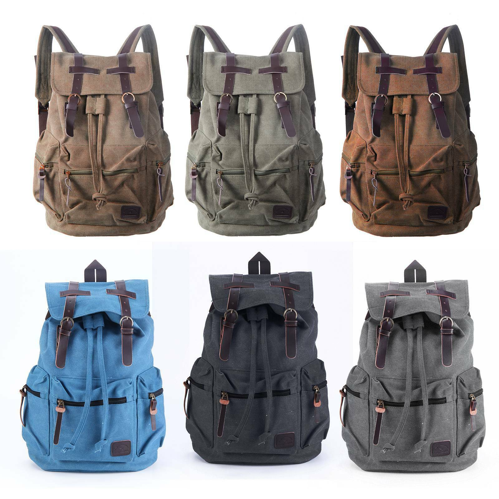 Canvas Travel Sport Camping School Satchel Laptop Hiking Bag Backpack ...
