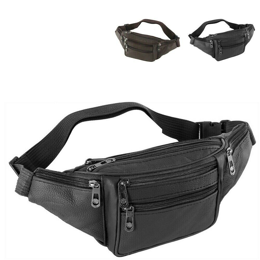 Fanny Pack Leather Black Waist Bag Hip Belt Pouch Travel Purse Men Wom...