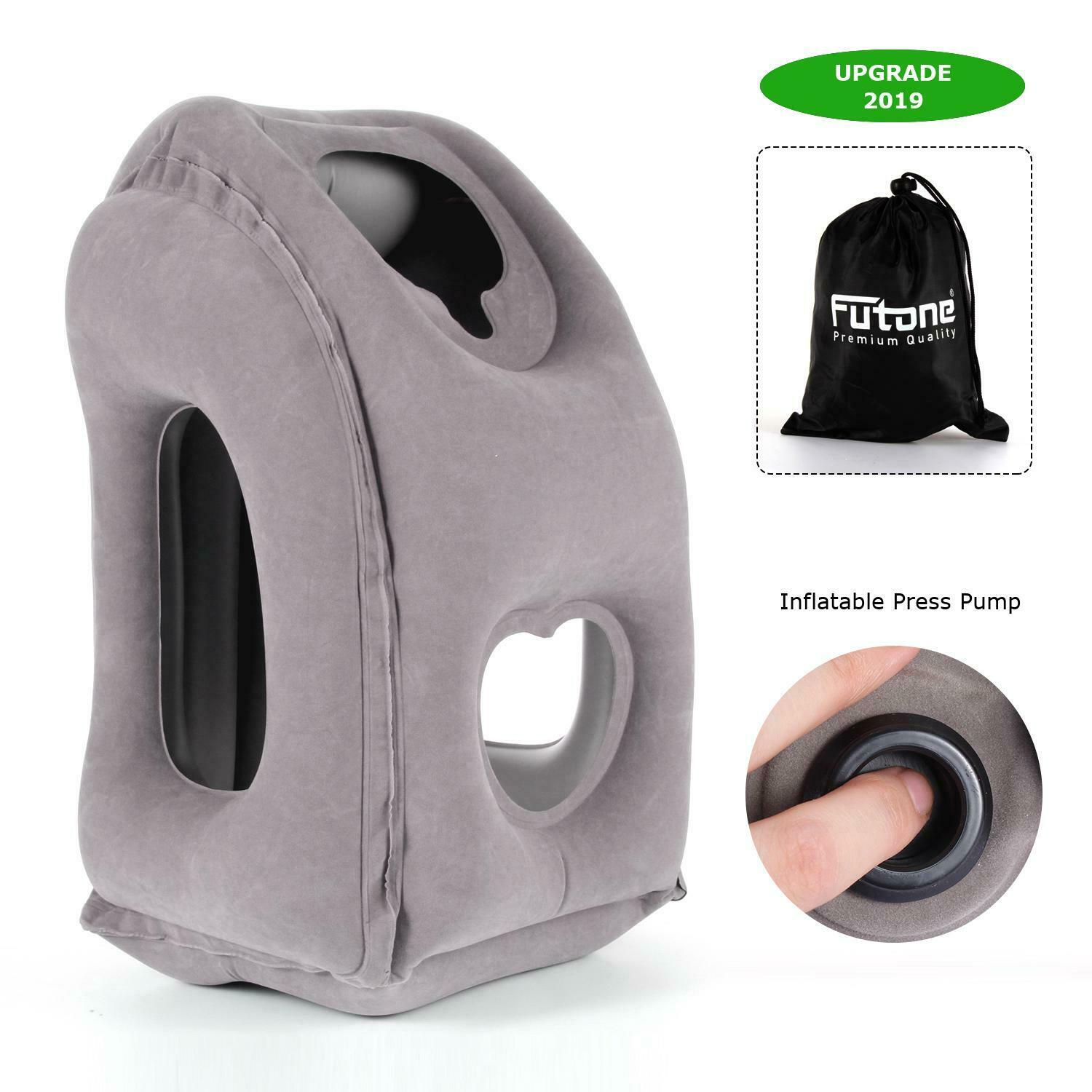 Futone Inflatable Travel Pillow Airplane Pillow with Neck and Head Sup...