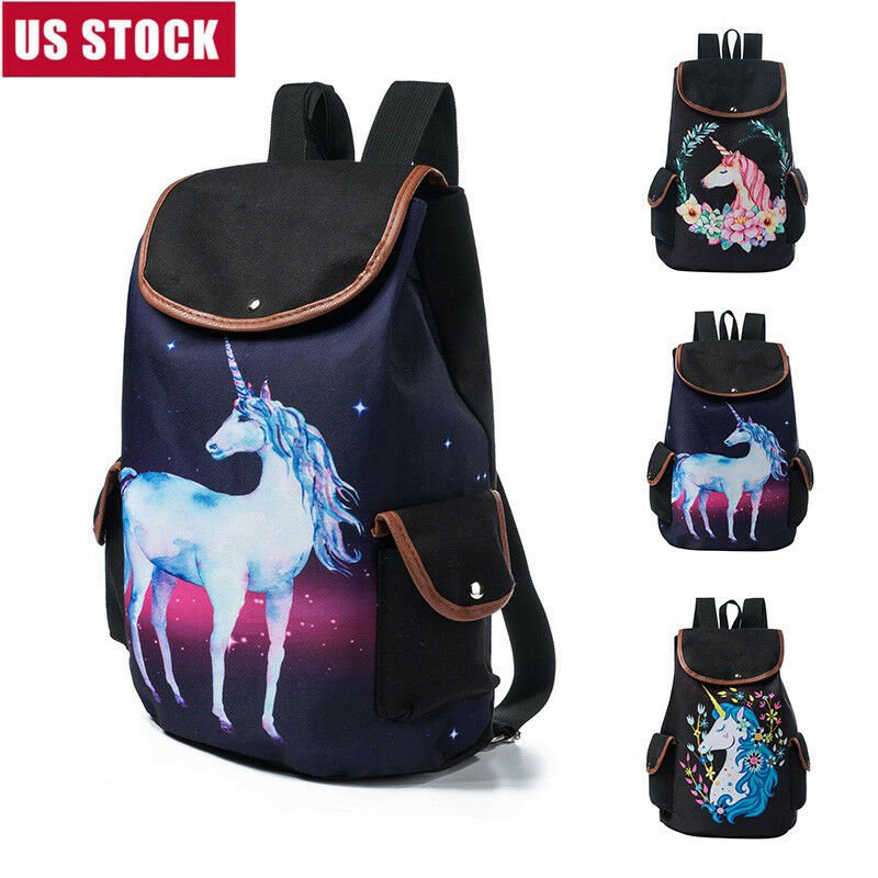 Girl Women Cartoon Unicorn Pattern Shoulder School Bag Backpack Travel...
