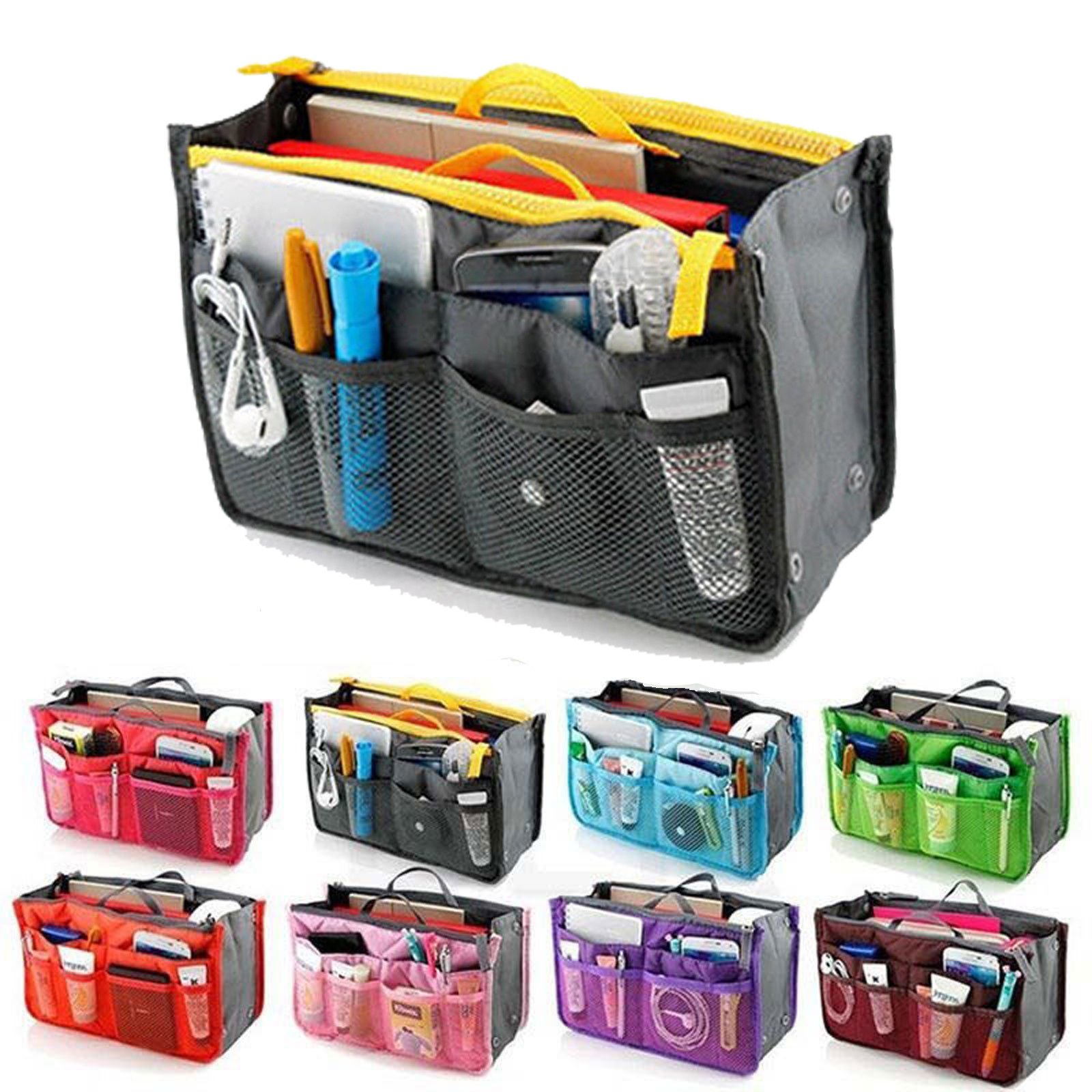 Handy Travel Insert Makeup Cosmetic Bag Large Handbag Storage Organize...