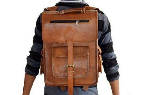 Heavy duty Leather Rucksack Backpack Luggage Hiking Camping Travel Ba...