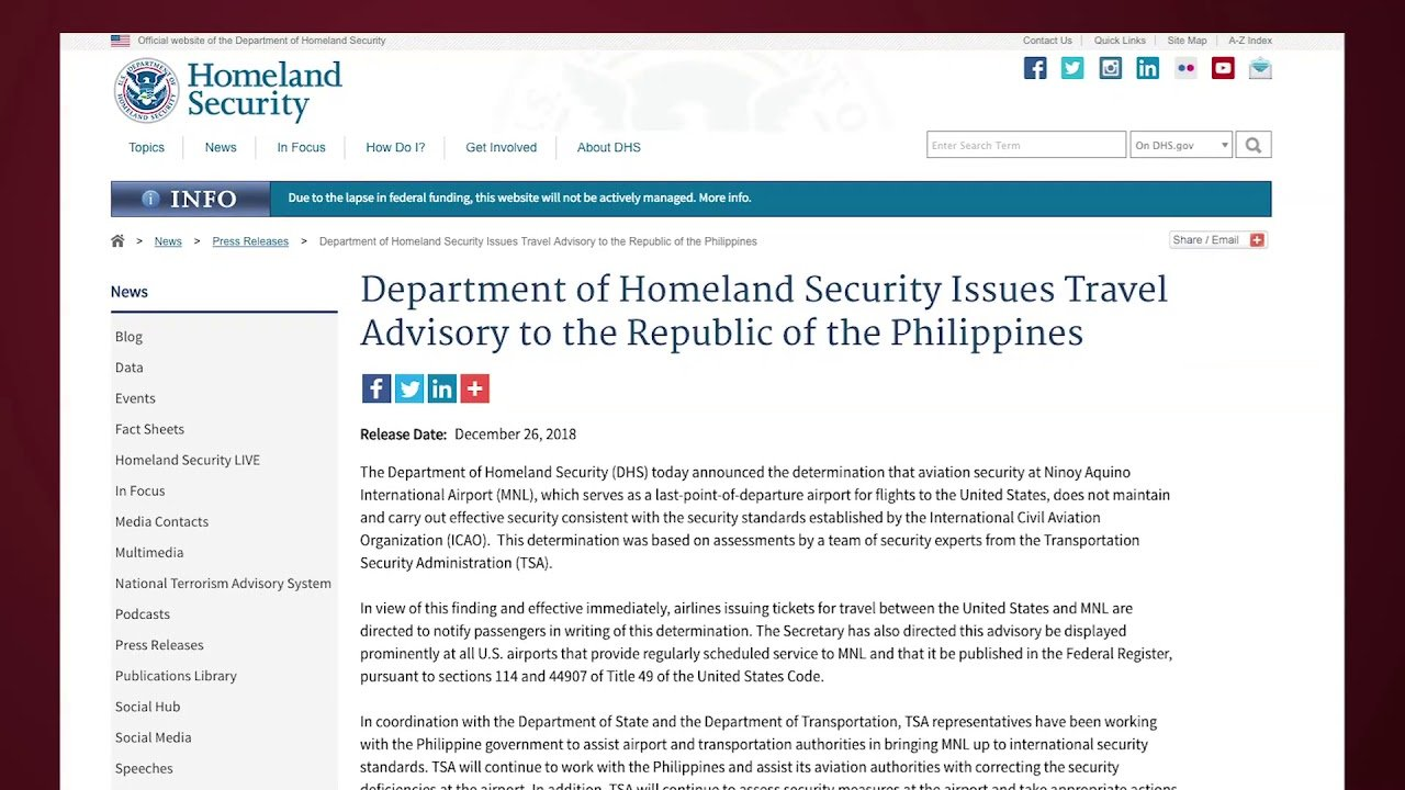 Homeland security issues advisory for travelers between US and Manila