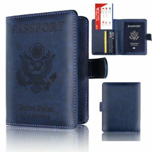 JN_ KM_ Passport Card Ticket Holder Travel Faux Leather Case Cover Sec...