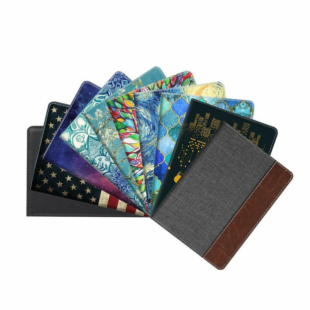 Leather RFID Blocking Passport Holder Travel Wallet Case Cover Securel...