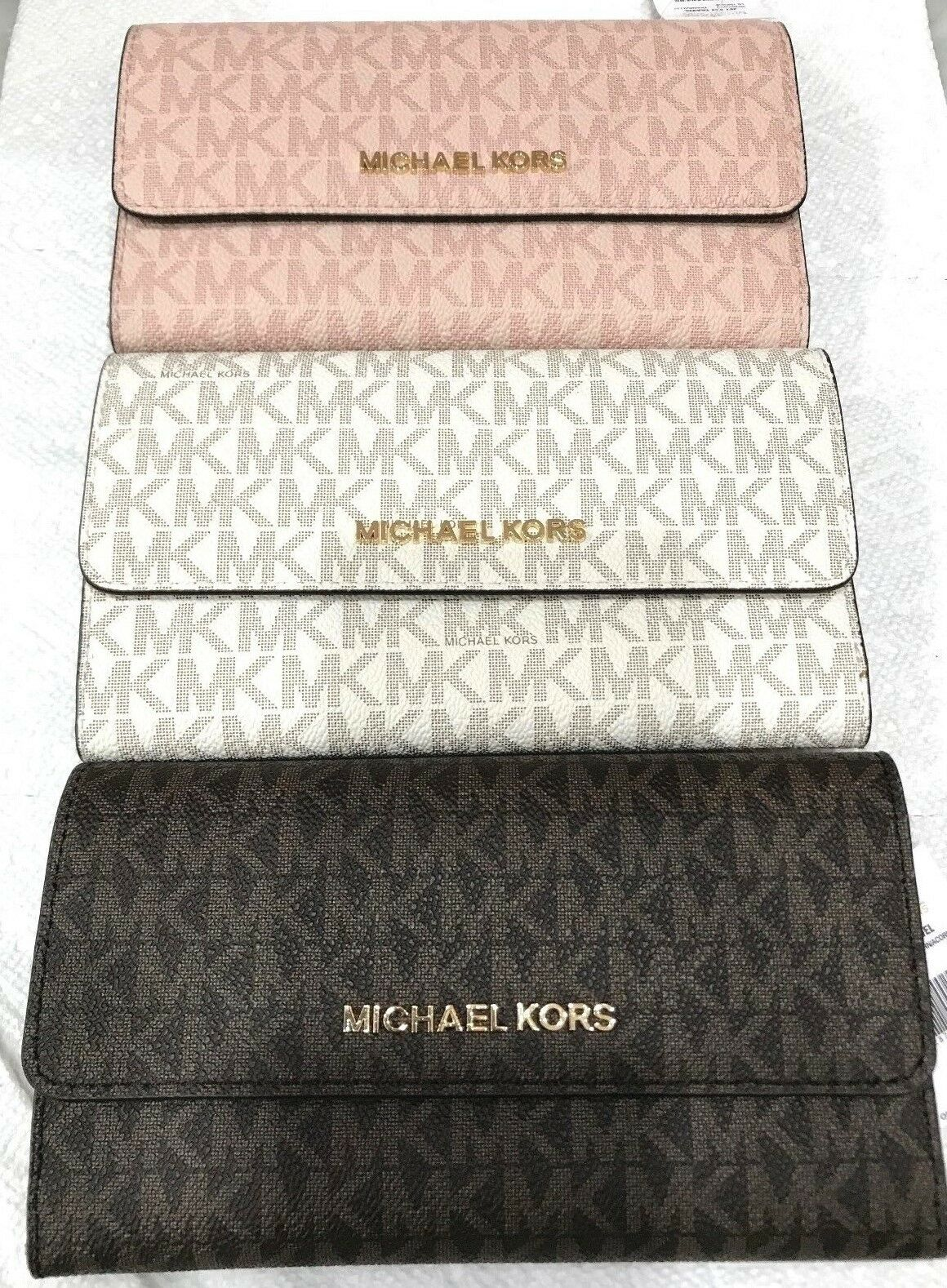 MICHAEL KORS JET SET TRAVEL SIGNATURE TRIFOLD CONTINENTAL WALLET MSRP ...