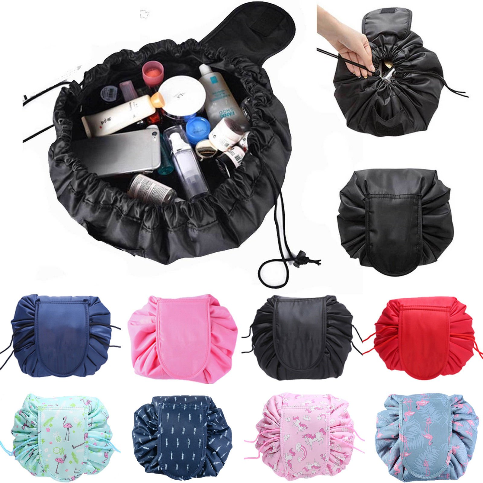Magic Travel Pouch Drawstring Lazy Portable Cosmetic Beauty Makeup Toi...