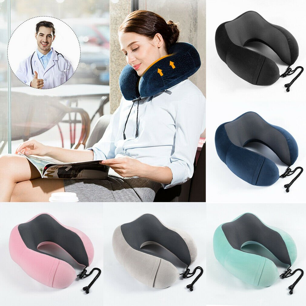 Memory Foam U-shaped Travel Pillow Neck Support Head Rest Airplane Sof...