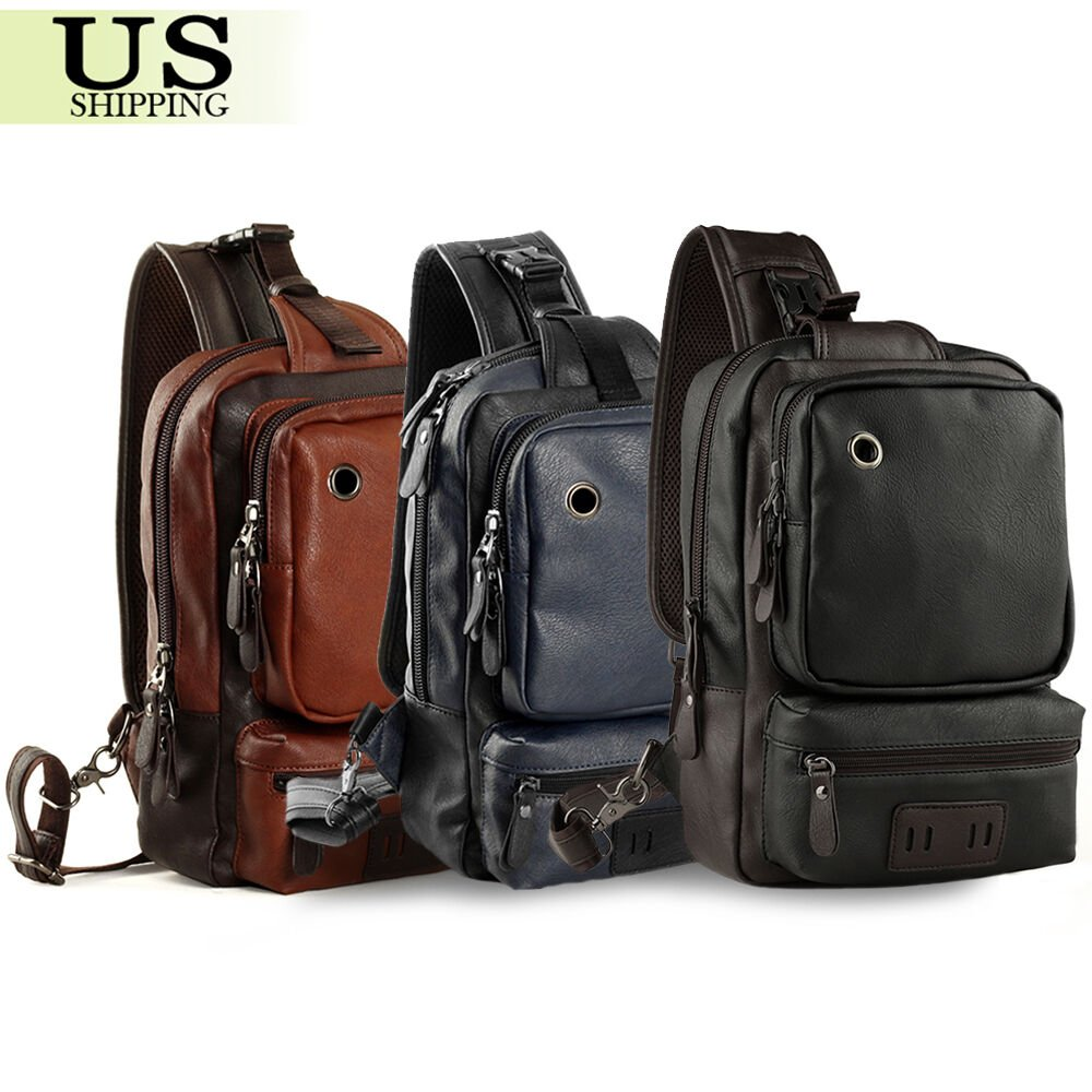 Men Leather Sling Shoulder Chest Bag Backpack Crossbody Bag Travel Rid...