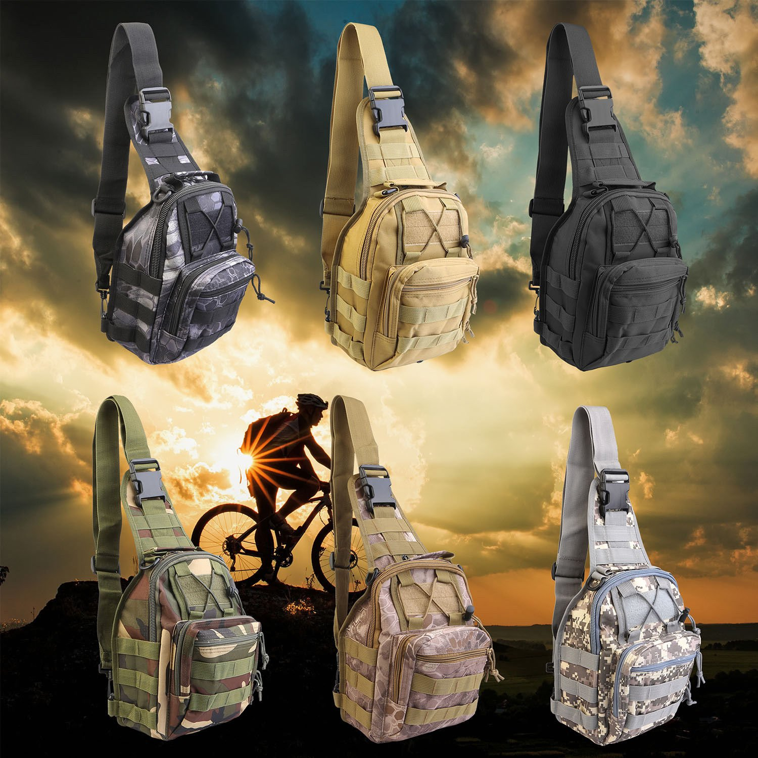 Men Shoulder Tactical Backpack Sling Chest Bag Outdoor Travel Camping ...