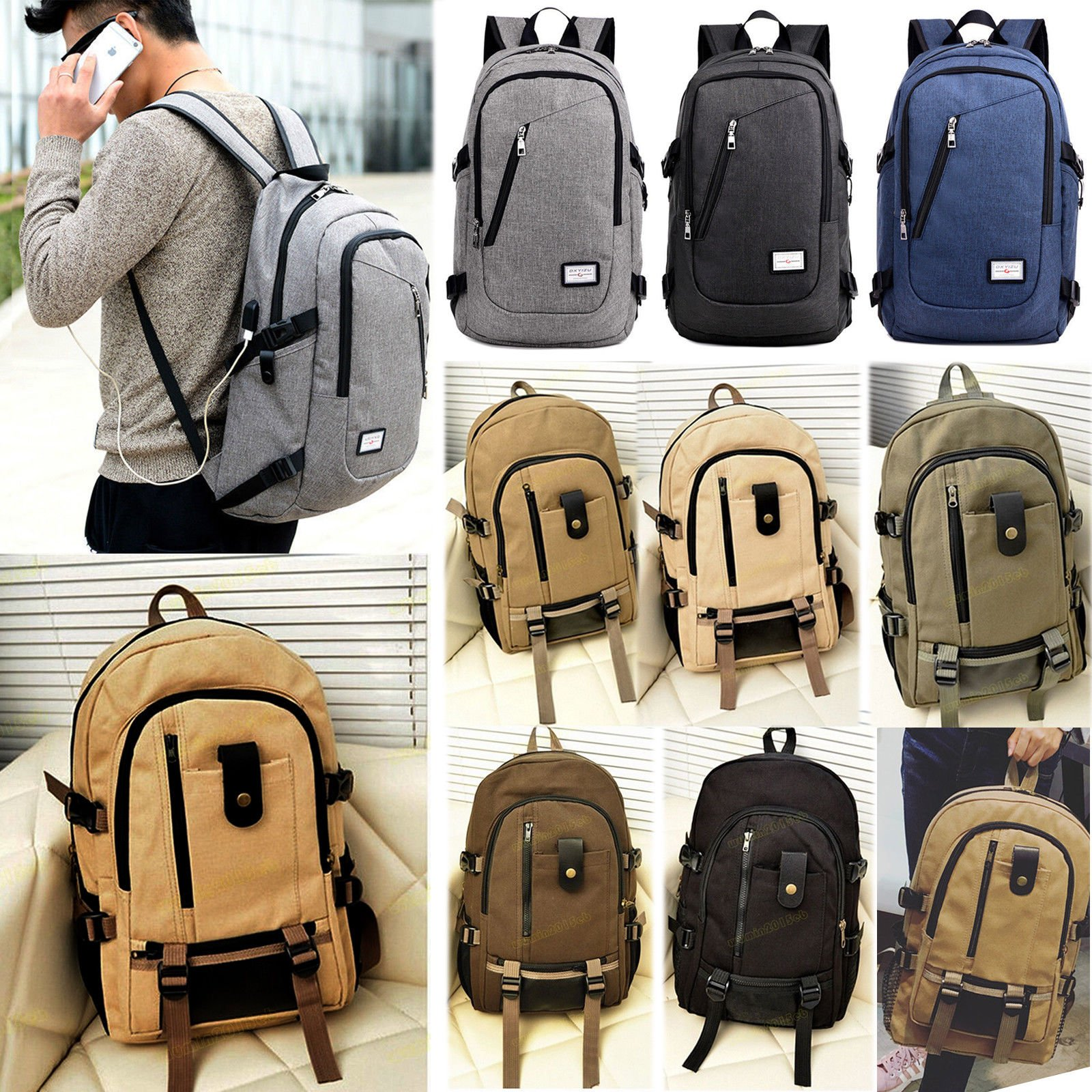 Men Women Canvas Retro Schoolbag Rucksack Laptop Travel Hiking Camping...