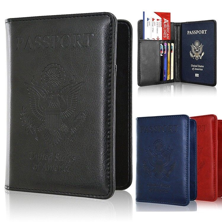 Men/Women's Leather Passport Case Wallet Holder Cover for Securely RFI...