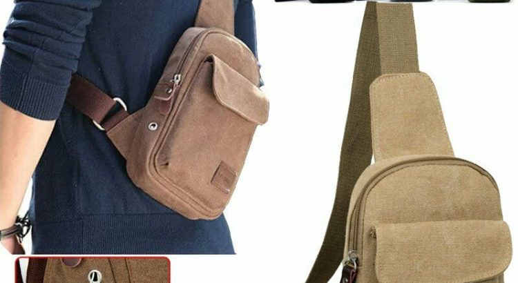 Men's Small Canvas Chest Bag Travel Hiking Sling Pack Crossbody Should...