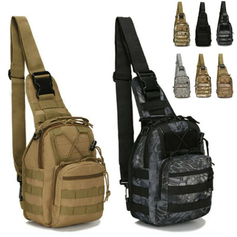 Men's Tactical Chest Bag Backpack Molle Crossbody Sling Messenger Shou...