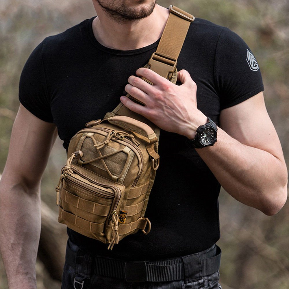 Mens Tactical Military Crossbody Shoulder Bag Chest Pack Camping Hikin...