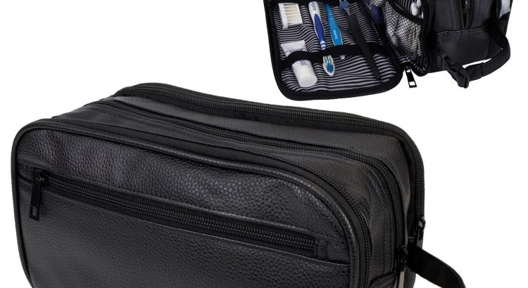 Mens Toiletry Bag with Zipper PU Leather Case Organizer Portable Trave...