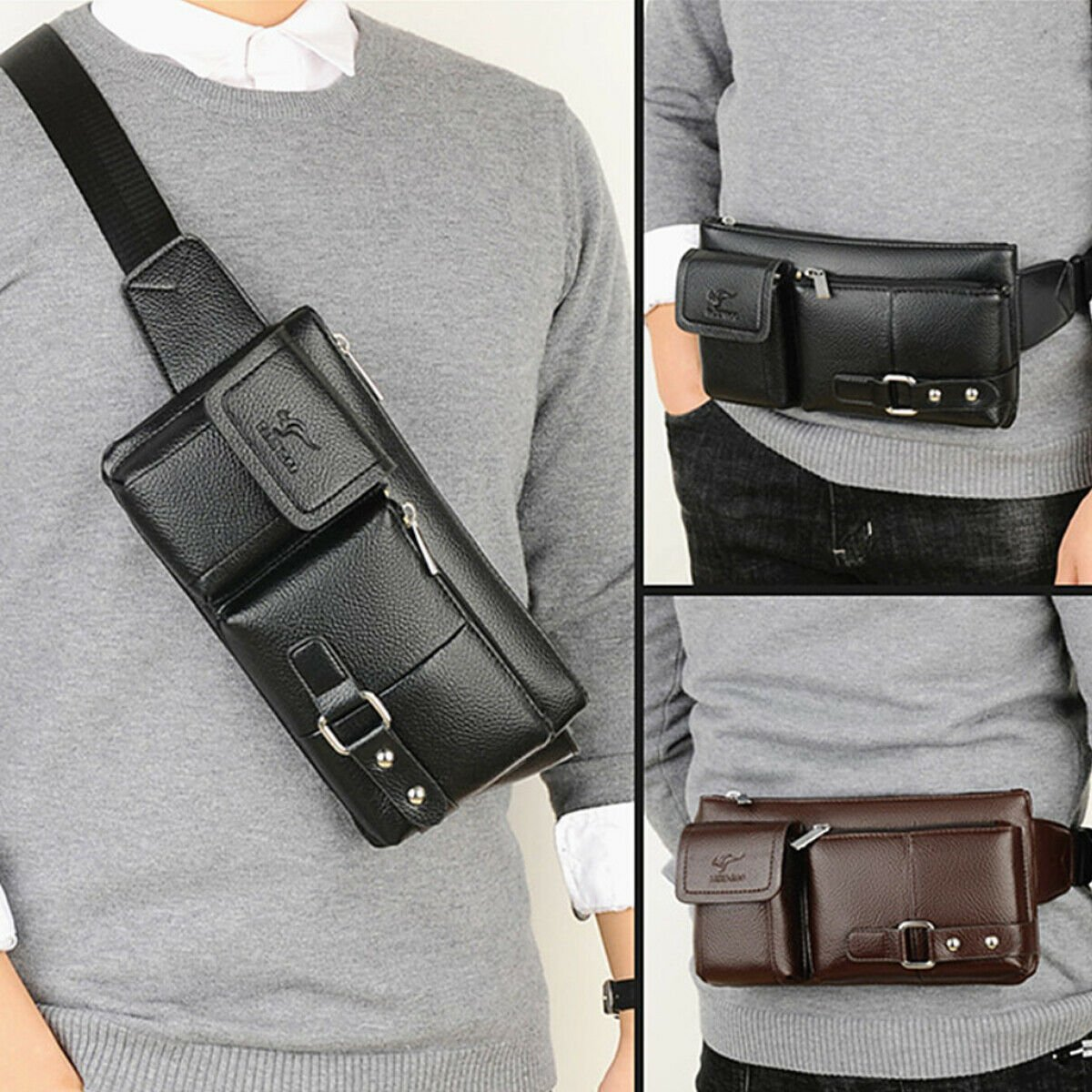 Mens Women Leather Waist Fanny Pouch Pack Travel Bag Belt Holiday Casu...