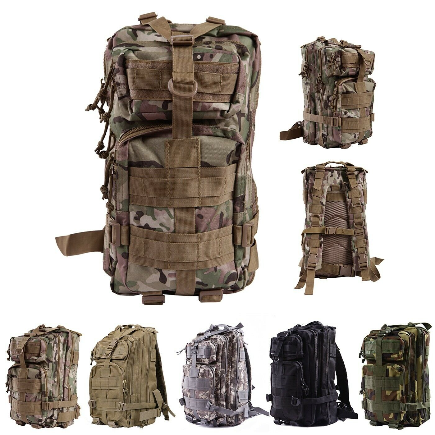 Military Tactical Backpack Expandable Small Lightweight Assault Pack 2...