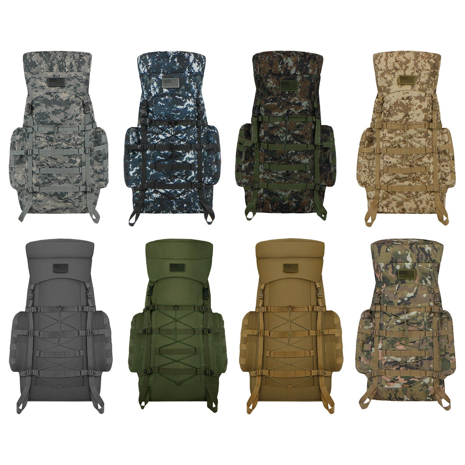 Military Tactical MOLLE Outdoor Bag Weather Resistant Backpack for Hik...