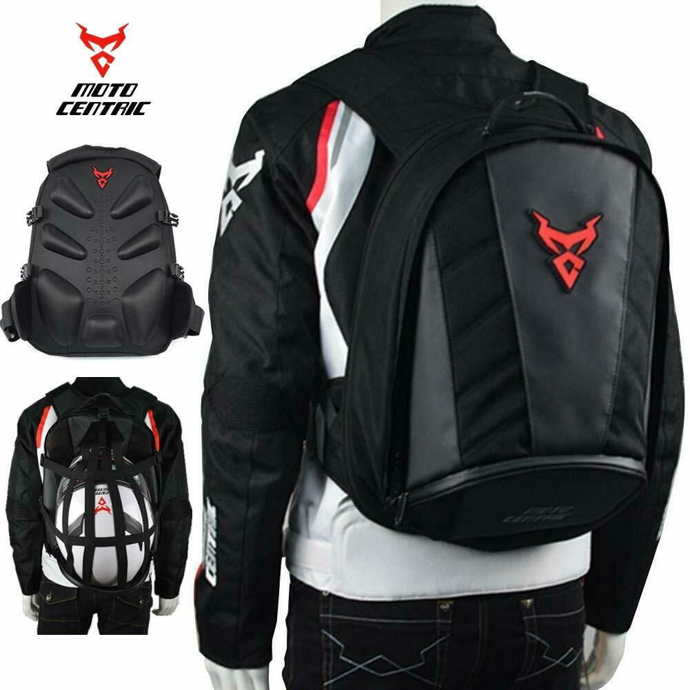 MotoCentric Motorcycle Leather Waterproof Backpack Riding Laptop Helme...