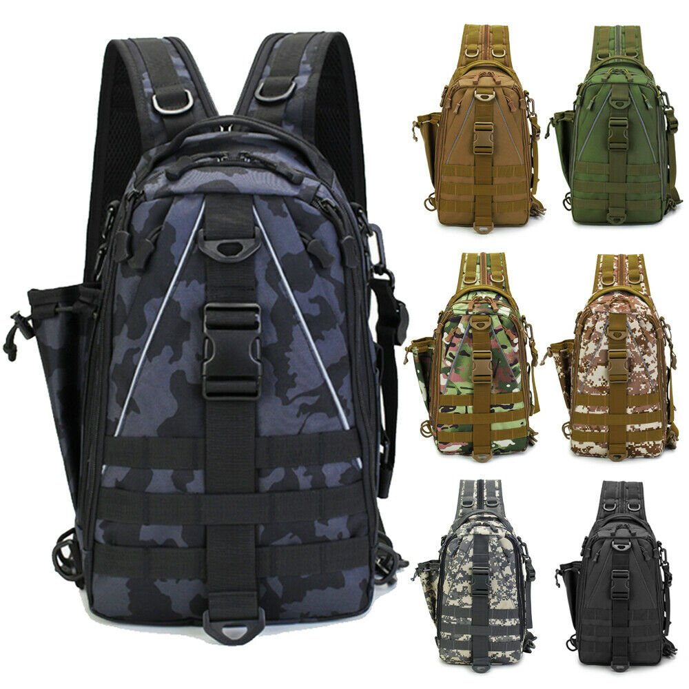 NEW Fishing Bag Tackle Storage Outdoor Shoulder Backpack Cross Body Sl...