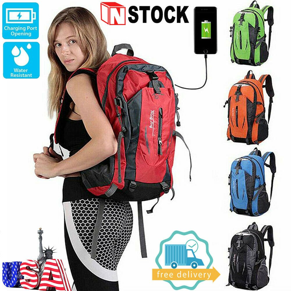 NEW Mens Womens Travel Sports USB Charging Backpack Laptop Notebook S...