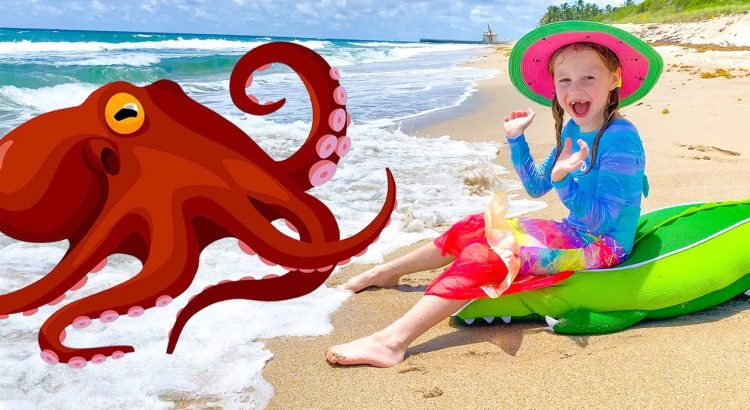 Nastya and dad - adventures on the beach