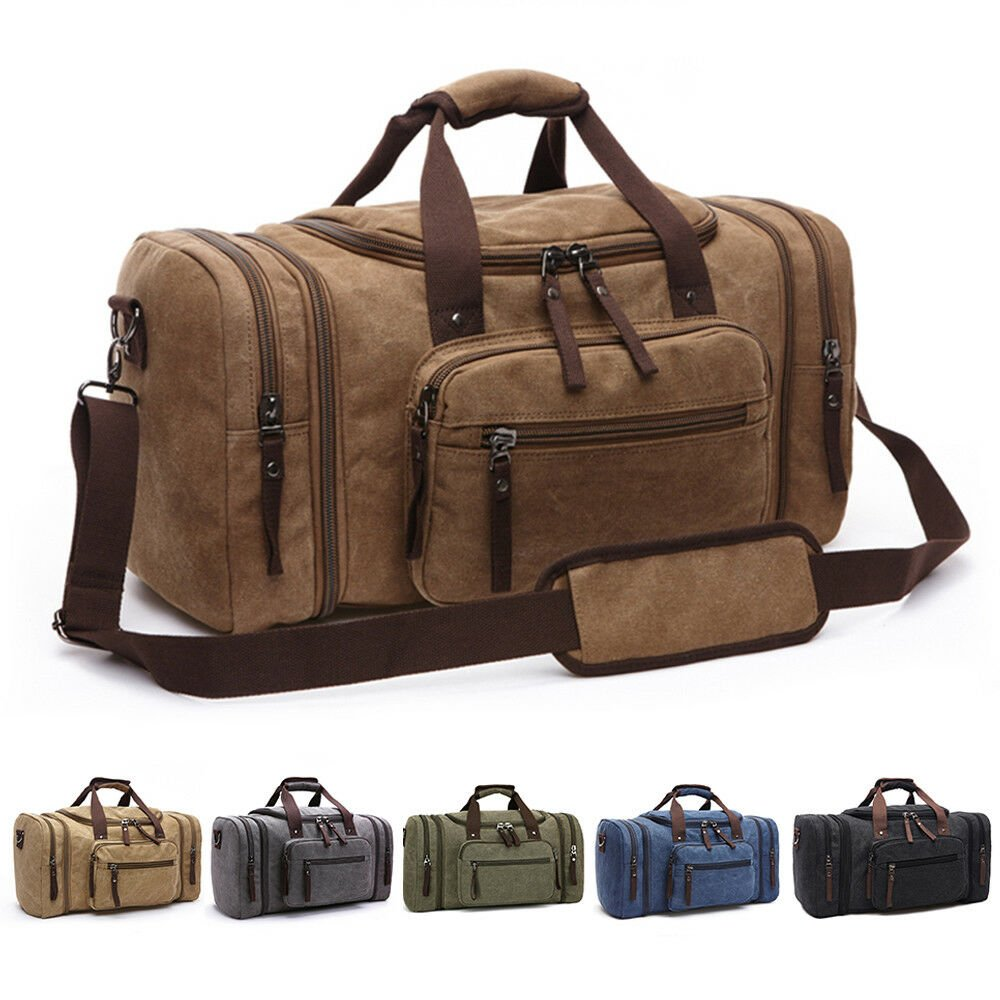 New Canvas Men Women Travel Bag Tote Handbag Luggage Duffle Weekend Ov...