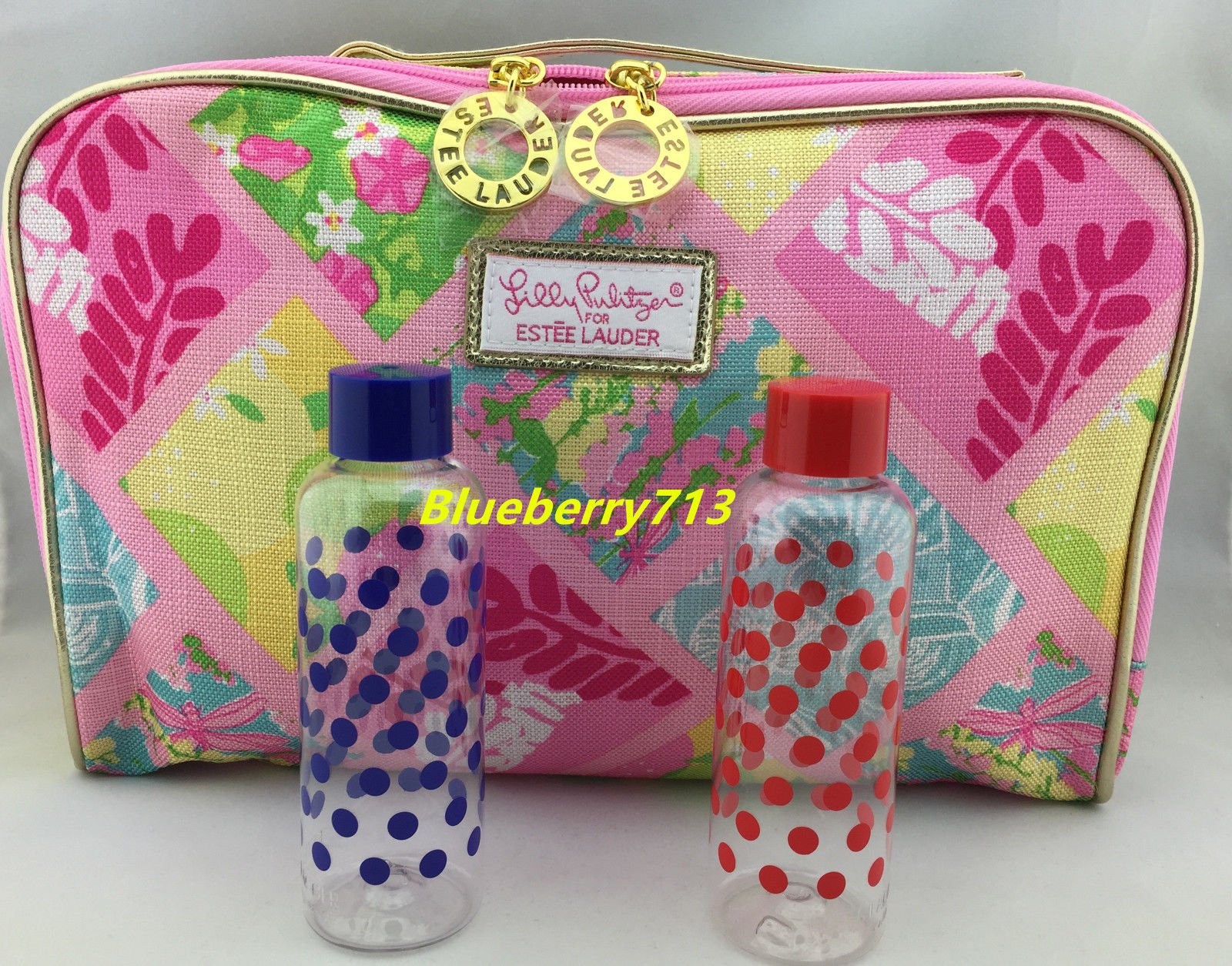 New! Estee Lauder Lilly Pulitzer  Makeup Bag with Top Handle + 2 Trave...