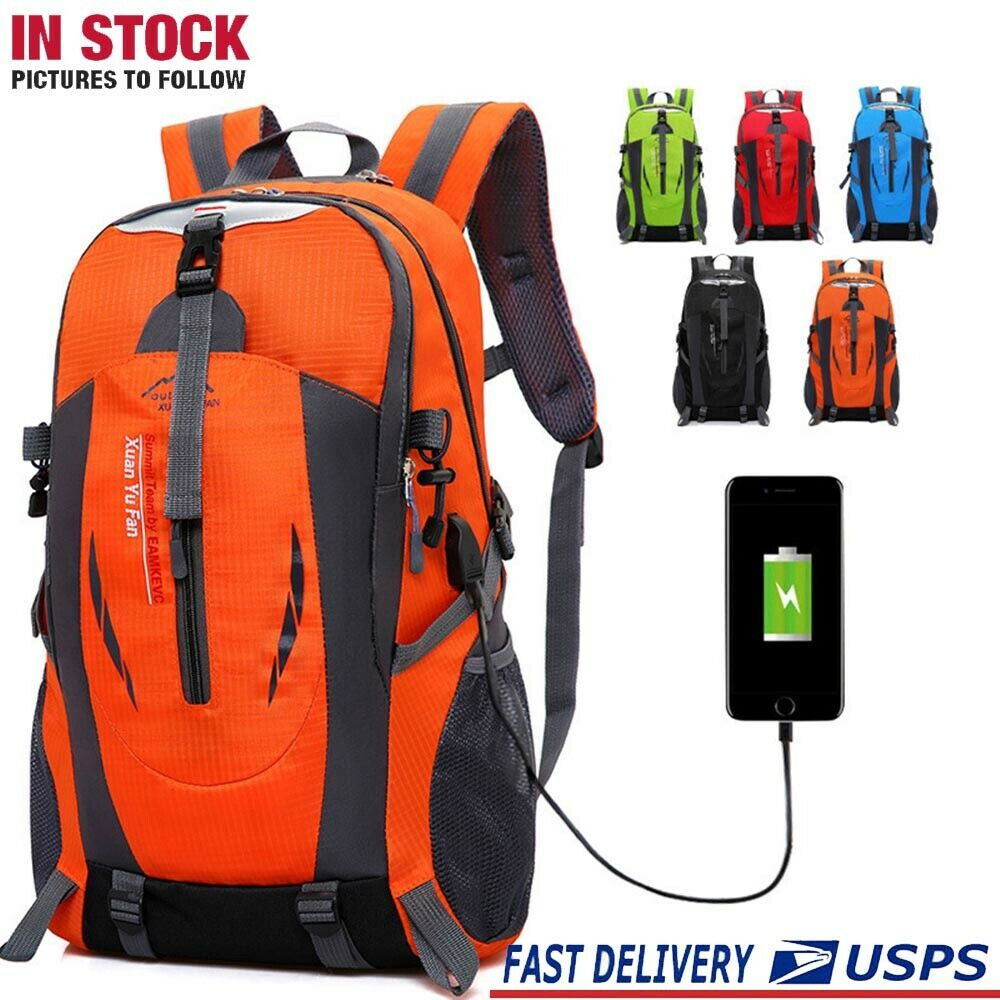 Nylon Travel Sport Shoulder Backpack Hiking Stick Waterproof Charging ...