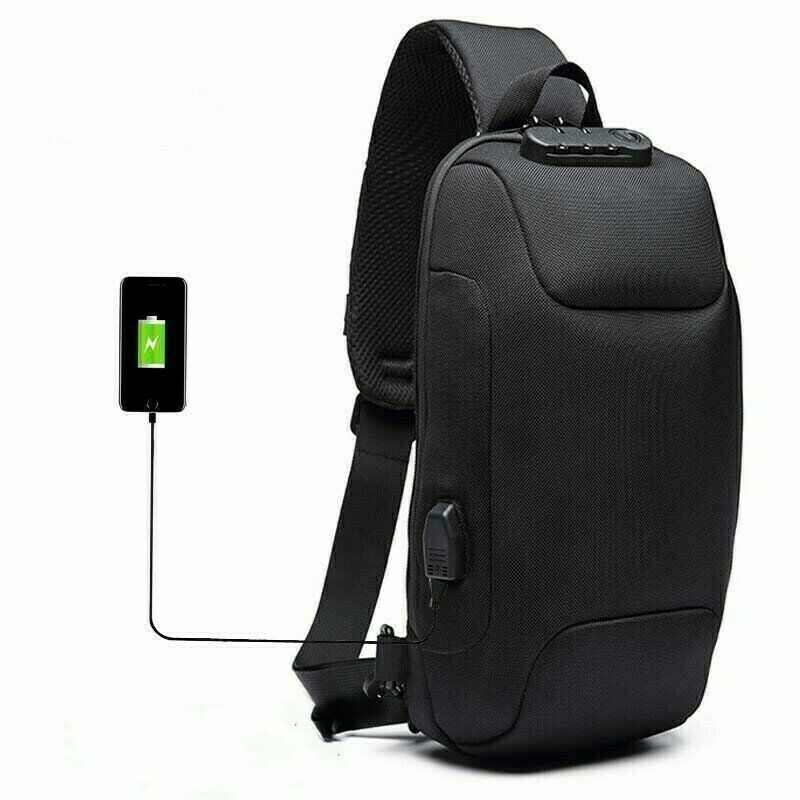 OZUKO Mens Shoulder Chest Bag Anti-theft Lock With USB Oxford Travel B...
