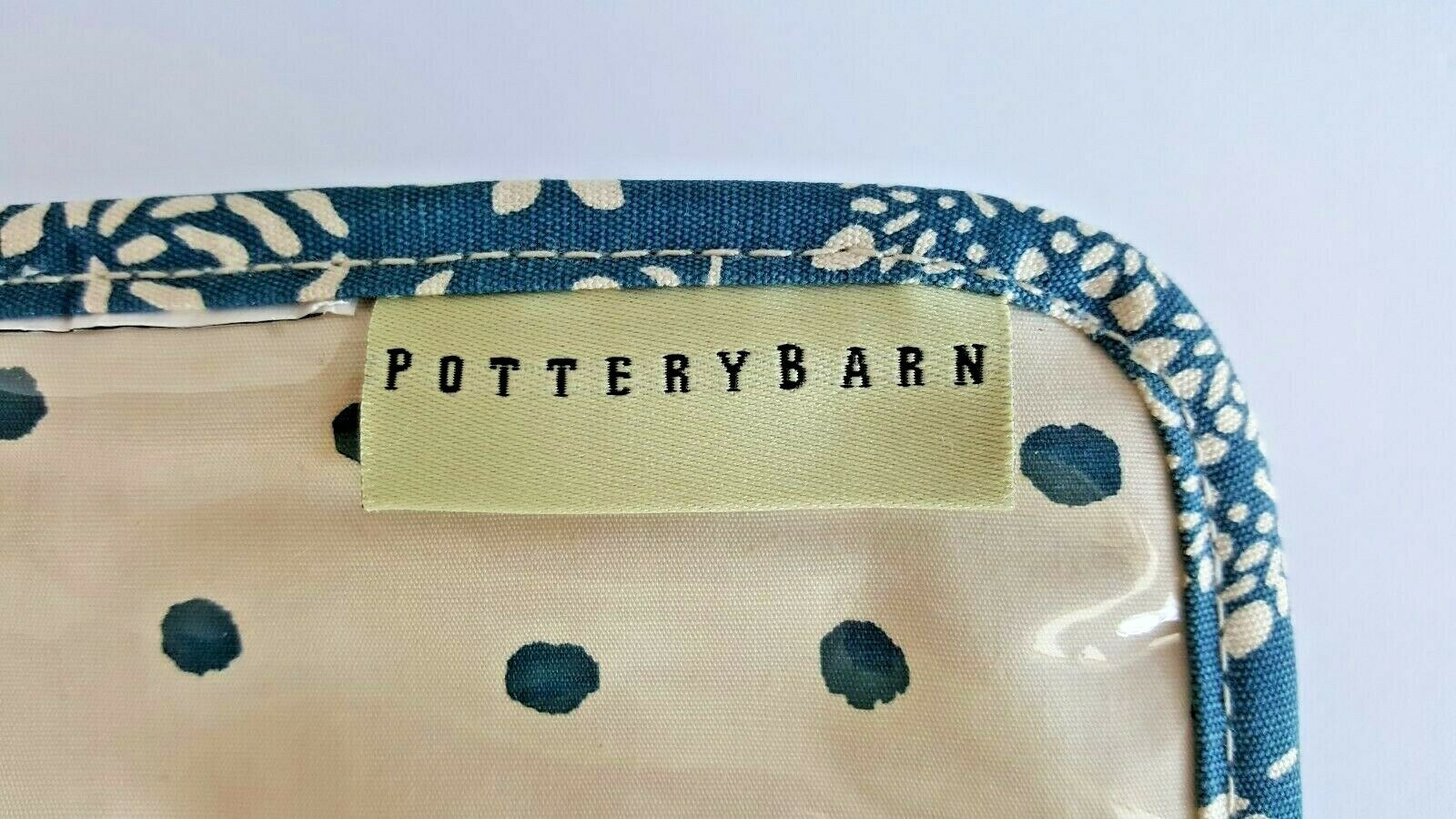 POTTERY BARN TRAVEL COSMETIC JEWELRY BAG BLUE COTTON PRINT VINYL POCKE...