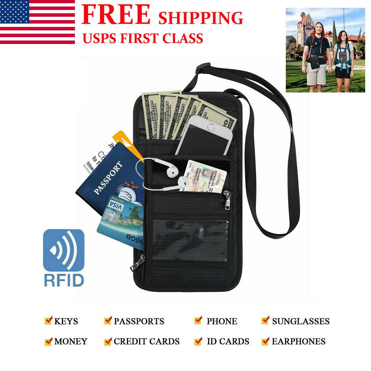 Passport Holder Neck Pouch RFID Blocking Travel Wallet Security For Me...