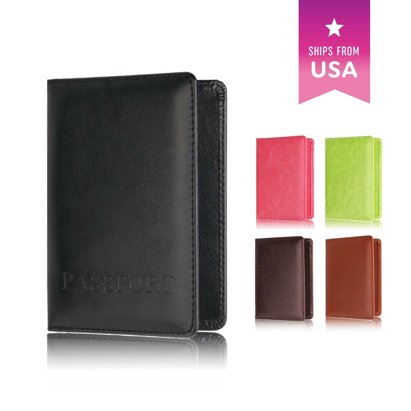 Passport Holder Travel Organizer Cover with Card Case Wallet Soft Vega...