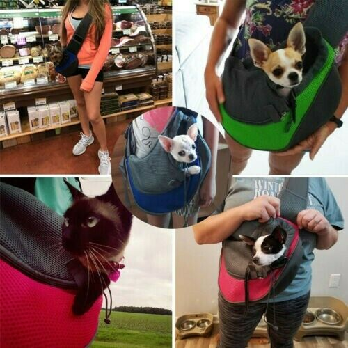 Pet Puppy Dog Mesh Sling Carry Pack Backpack Carrier Travel Tote Shoul...