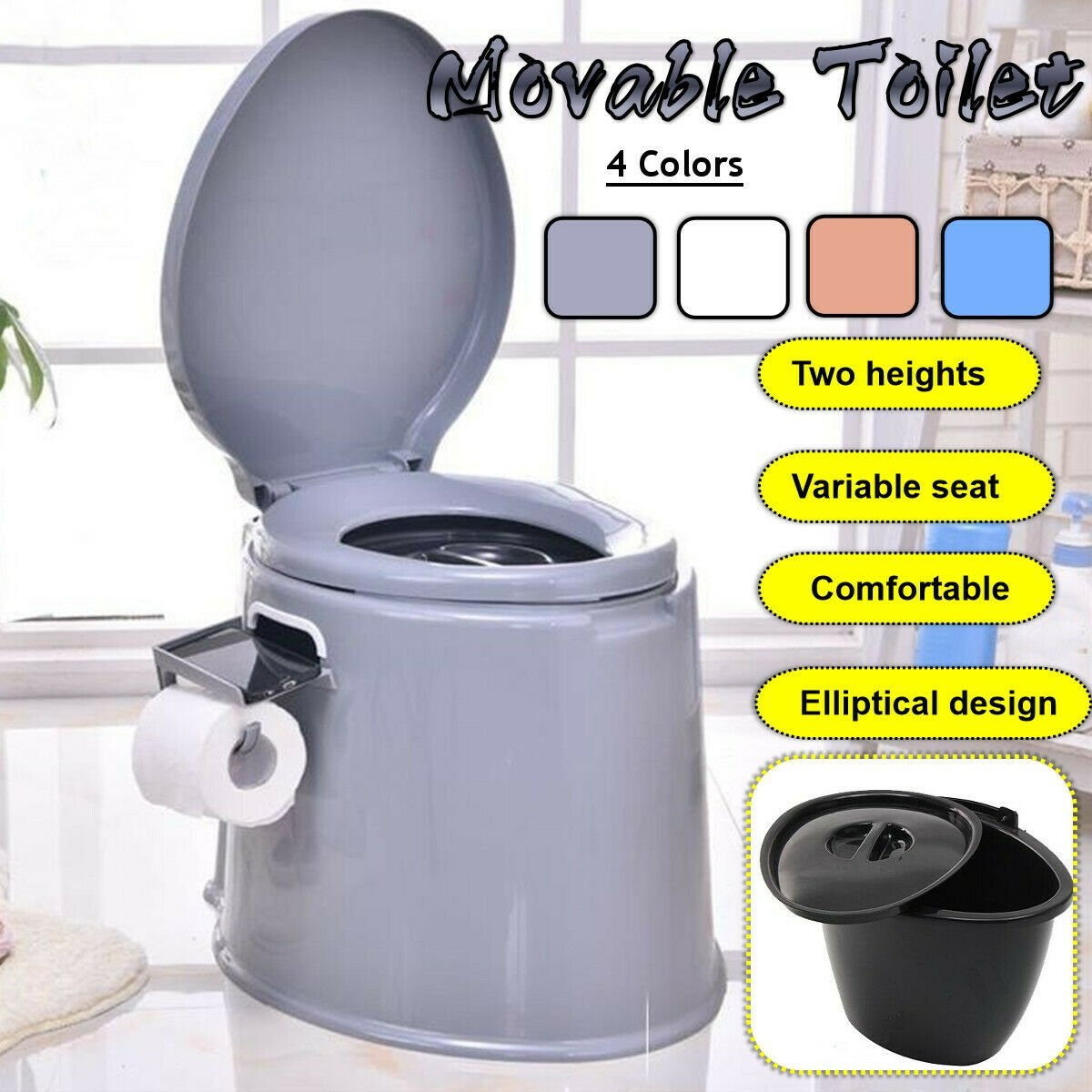 Portable Large Potty Commode Toilet Flush Travel Camping Hiking Outdoo...