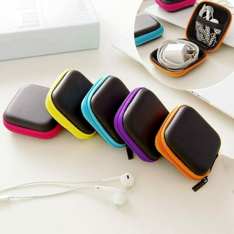 Portable Organizer Case Travel Charger USB Cable Earphone Square Stora...