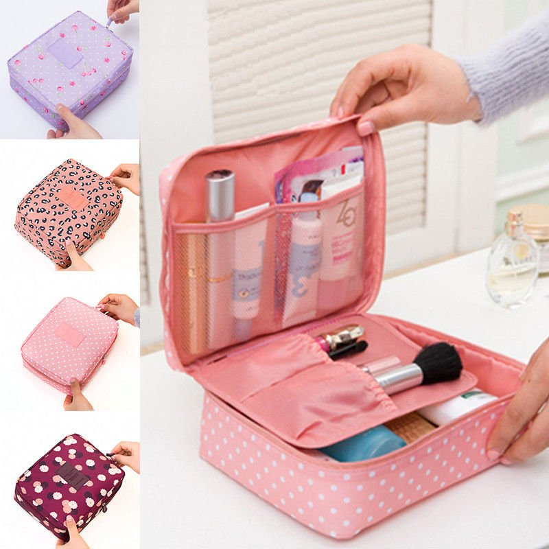 Portable Travel Makeup Toiletry Case Pouch Flower Organizer Cosmetic B...
