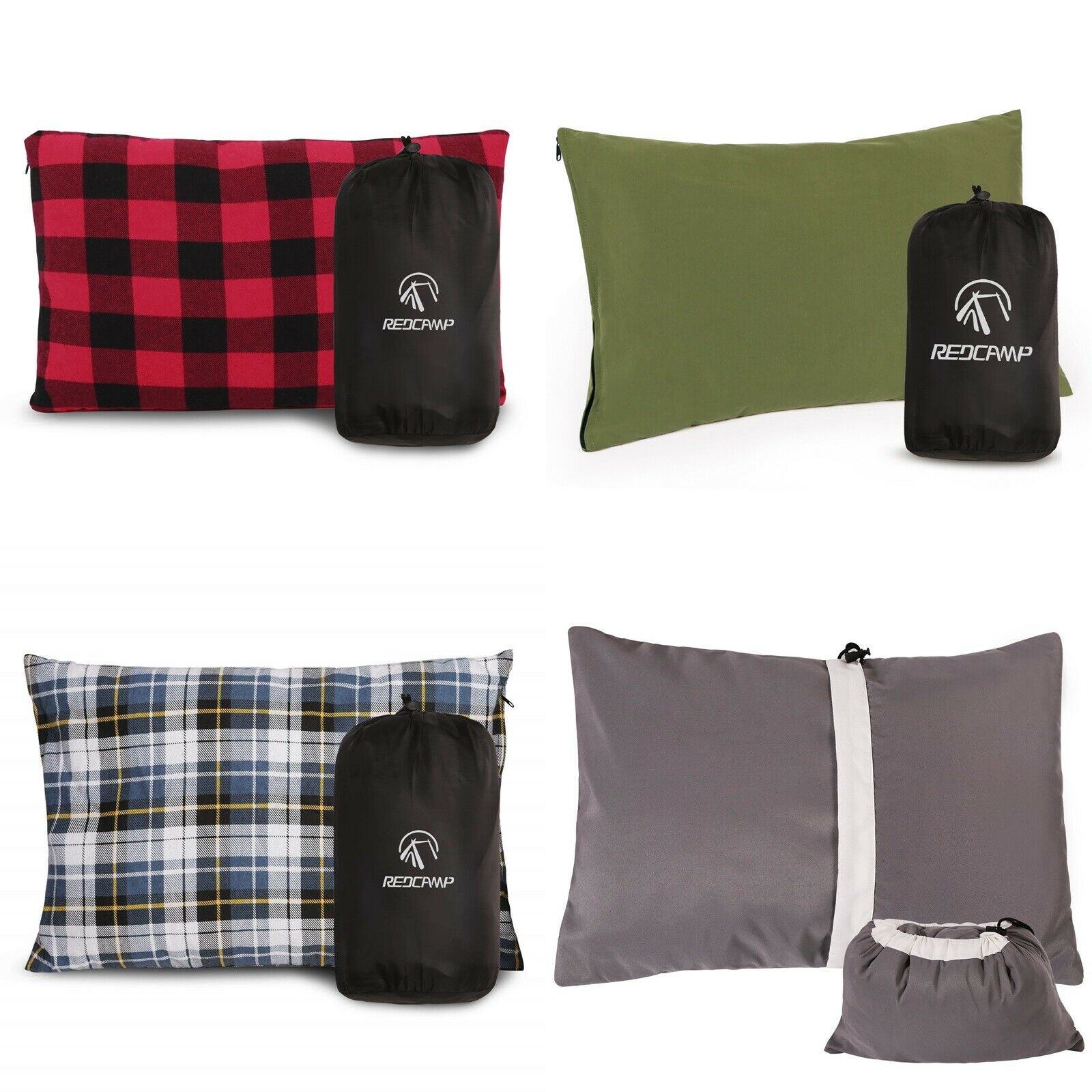 REDCAMP 1/2 Packs Lightweight Compressible Camping Pillow for Travel B...