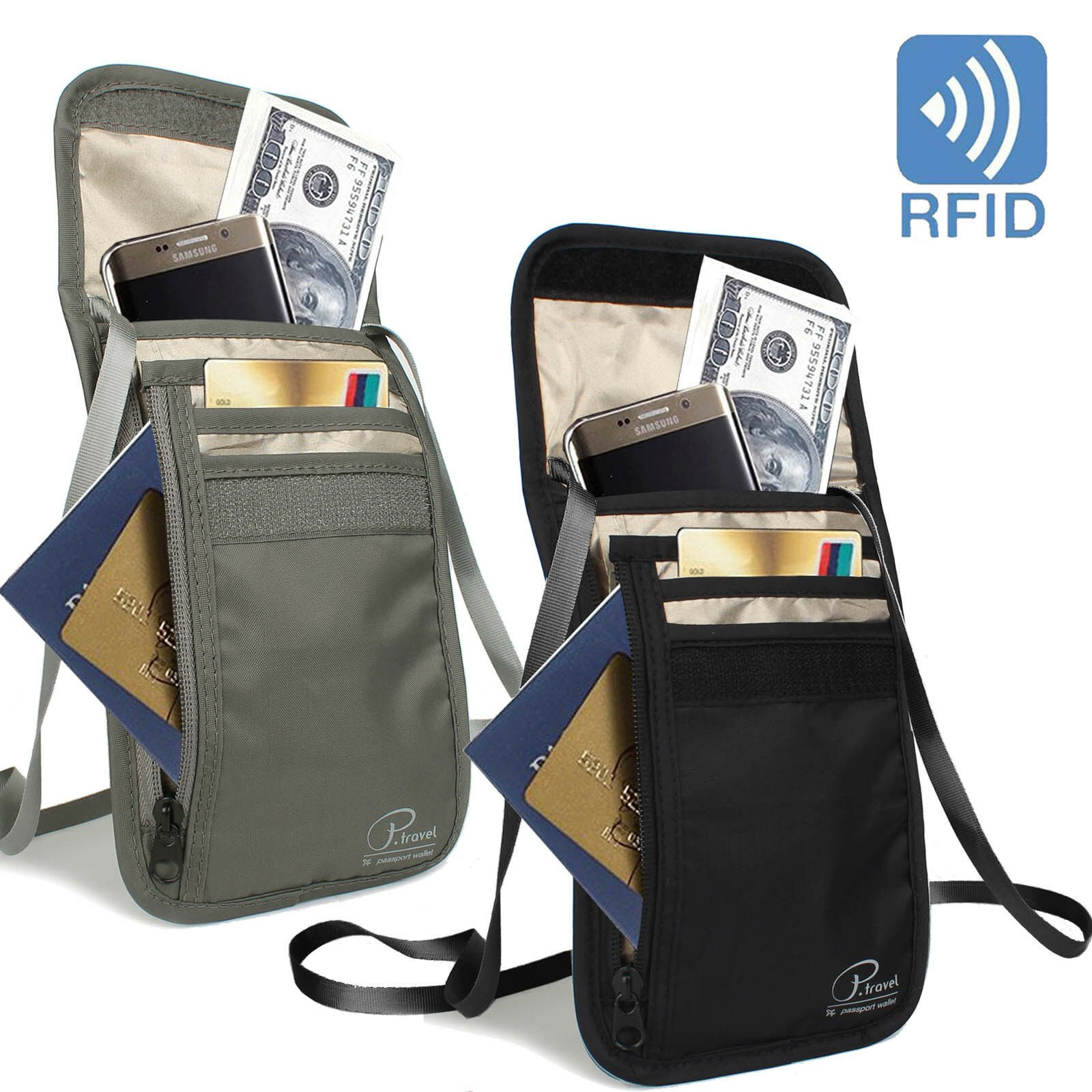RFID Blocking Money Pouch Travel Passport ID Card Phone Holder Neck Wa...