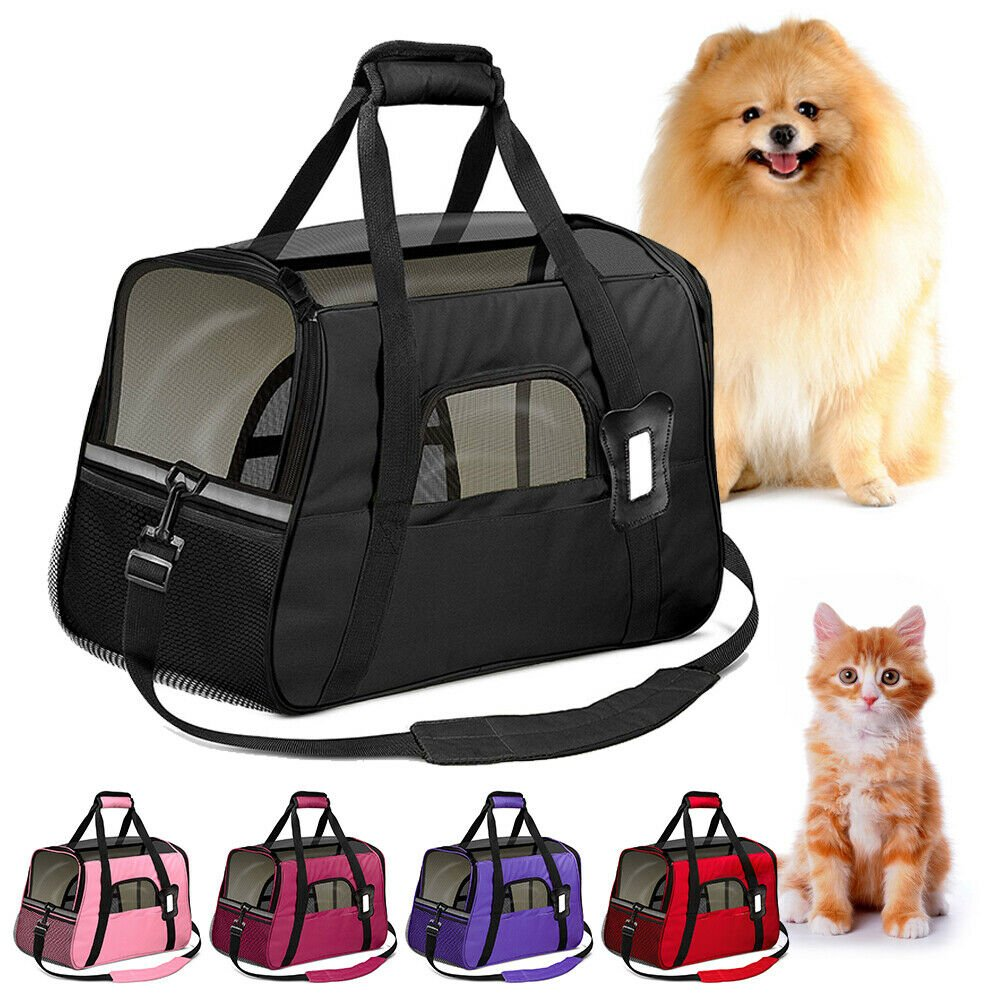 Small Cat / Dog Pet Carrier Soft Sided Comfort Bag Travel Case Airline...