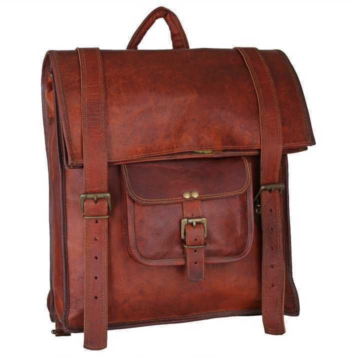 Soft Rustic Leather Laptop Bag Backpack Large Hiking Travel Camping C...